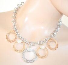 COLLIER femme ARGENT pendentif or rose chaîne strass ras du cou necklace 50X
