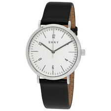 DKNY Minetta White Dial Black Leather Ladies Watch NY2506