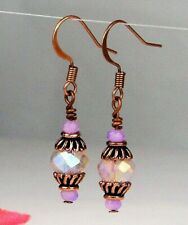 Faceted Tanzanite Purple Crystal Antique Copper Dangle Earrings USA HANDMADE