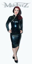 MISFITZ RUBBER LATEX LONG SLEEVE PENCIL CHINA DOLL DRESS SIZES 8 - 32 0R CUSTOM