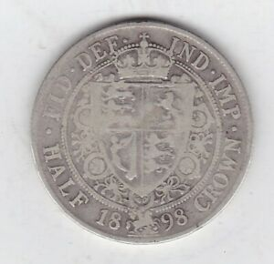 1898 VICTORIAN SILVER HALF CROWN IN A USED CONDITION