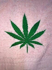 Embroidered Light Pink Bathroom Hand Towel Marijuana Leaf HS1867