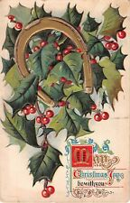 Sprigs of Holly With Golden Horseshoe on 1910 Christmas Postcard-Holly Ser No. 3