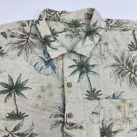 Batik Bay Button Up Shirt Men's 2XL XXL Short Sleeve Tropical Print 100% Silk