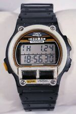 Vintage Men Timex Ironman Triathlon Watch Black Indiglo 8 Lap Orange Accent 96