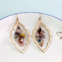 Faceted Beads Fishhook Fish Hook Crescent Hoop Earrings Fishhook Drop Earrings