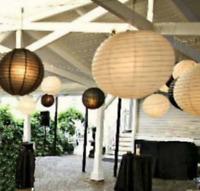12x black white paper lanterns 12 LED lights wedding birthday party decoration