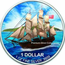 2020 Cook Islands Bounty Ship 1 Ounce Pure Silver Colorized Series!