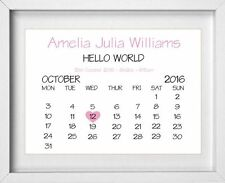 BABY GIRL Calander Personalised Nursery Picture Pink | FREE POST | (NP116)