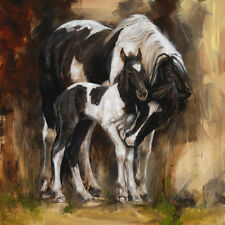 ZOPT127 100% hand painted just born stag horse &mare OIL PAINTING ON CANVAS