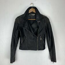 Beulah Black Moto Faux Leather Jacket Size Small Shoulder Stud Spike