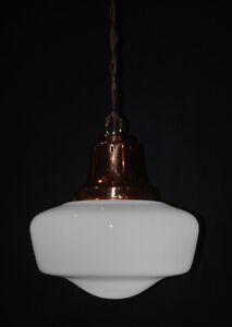 Vintage 1930s Rare Large Art Deco Opaline milk glass school house pendant light