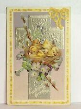 PostCard Eastertide Greetings Little Chicks Cross Floral Posted 3/1910 Vintage