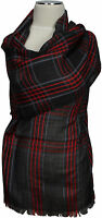 Karo Schal, Tartan 100% Wolle Anthrazit Grau Rot pure wool gray ècharpe foulard