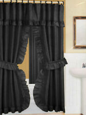 """Black Ruffled Double Swag Shower Curtain & Liner 70"""" x 72"""" w/12 Roller Rings"""