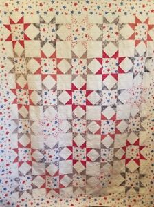 Red and Blue Stars Bed Quilt