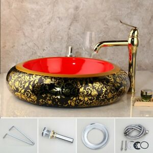 Ceramic Basin Black & Red Basin Bowl Vessel Sinks Waste Drain Gold Mixer Faucet