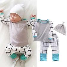 3PZAS Recién nacido Infantil Bebé Niño Niña Conjunto Ropa camiseta Blusas+