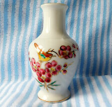 "Oriental porcelain bud vase bird and blossoms flowers 4"" tall"