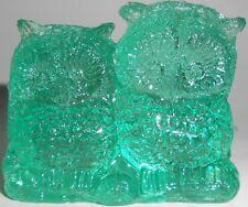Teal Green glass OWL / Bird screech great horned barn pair snow paperweight Blue