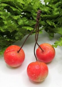 LOVELY CLUSTER OF OLD PINK ALABASTER STONE FRUIT CHERRIES #5