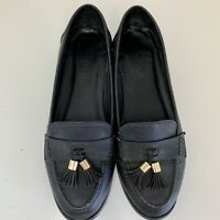 Schuh Black Flat Womens Shoes Size 6 UK, 39 EU W Tassels Flats Loafers FUC Shoe