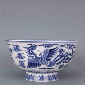 "Chinese Blue and White Porcelain Qing Qianlong Dragon Phoenix Design Bowl 6.1"""