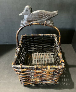 Vintage Rustic Country Farmhouse Wooden Square Basket With Duck Carved On Handle