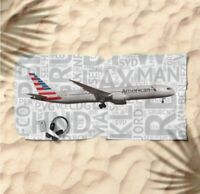 American Airlines Boeing 787 with Airport Codes -  Beach Towel