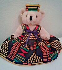 Handmade Teddy Bear Wearing West African Dress & Hat, Jointed Kwanzaa