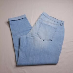 Old Navy Boyfriend Skinny Jeans Size 14 Light Wash Mid Rise Distressed Womens
