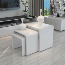 Modern Nest of 3 Coffee Tables High Gloss Seamless White Rounded Angle Design
