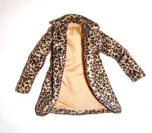 Barbie Fashion Leopard Print Faux Fur Coat For Model Muse Barbie Doll rf34