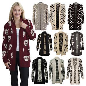 Women Skull Skeleton, Owl, Leopard, Heart Print Open Front Knitted Cardigan 8-22