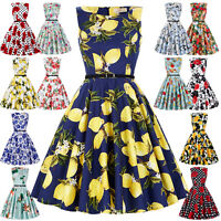 50s Womens Retro Vintage Evening Party Dress Floral Swing Mini 60s Plus Size New