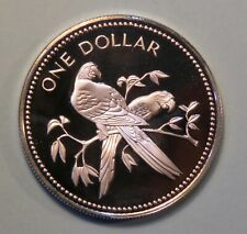 1977 Belize One 1 Dollar Proof World Coin Central America Scarlet Macaw Bird