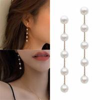 Fashion Women Long Pearl Tassel Chain Earrings Drop Dangle Ear Stud Jewelry Gift