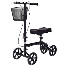 New Steerable Foldable Knee Walker Scooter Turning Brake Basket Drive Cart Black