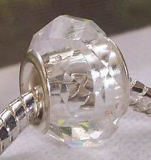 Clear Faceted Crystal Single Core Bead Gift fits Silver European Charm Bracelets