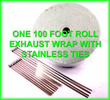 EXHAUST HEAT PIPE INSULATION HEADER WRAP ROLL STAINLESS TIES 2 X 100 FEET WHITE