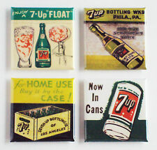 7 Up FRIDGE MAGNET Set (1.5 x 1.5 inches each) ice cream sign matchbook label