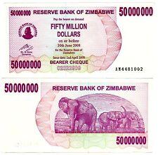 Zimbabwe Billet 50 MILLION DOLLARS 2008 P57 RARE ELEPHANT  NEUF UNC