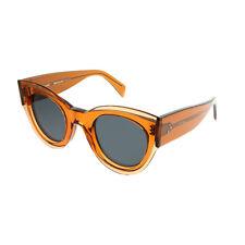Celine CL 41447 L7Q Transparent Orange Plastic Cat-Eye Sunglasses Grey Lens