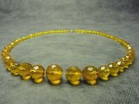 Vintage Czech Bohemian Yellow Faceted Glass Bead necklace