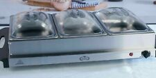 2x Large Buffet Food Warmer Server 3x2.1L Hot Plate Tray Stainless Steel 300W