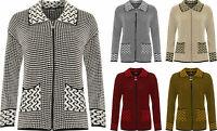 Womens Long Sleeve Knitted Cardigan Ladies Zip Pocket Leopard Collar Jacket