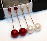 Long Drop/Red Pearl Earring/Dangling Pearl Earring/RGE753