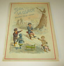 Old 1895 Antique French Game Box Cover PRINT - SLEDDING - Sur La Glace