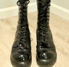 Vtg HH Double H Men 9 E Black Leather Combat Boots Military Jump Tanker Toe Cap