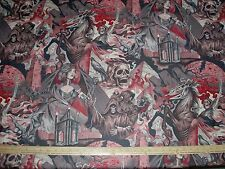 Cotton Fabric Alexander Henry HEART OF DARKNESS NEW on RED BTY